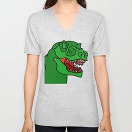 Green T-Rex Unisex V-Neck