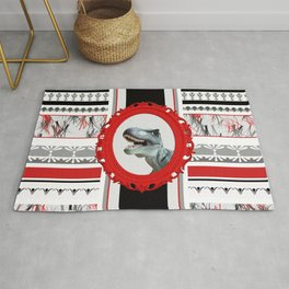 Dinosaur in red Frame with ornament pattern Rug