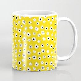 White Yellow Spring Flower Pattern Coffee Mug