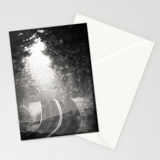 Forest Fog Wanderlust Black and White Road Trip Adventure Stationery Cards
