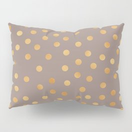 Rose gold polka dots - mocha golden Pillow Sham