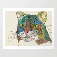 whisky Art Prints featuring Whisky Cat by Faye Finney