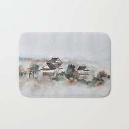 Japanese ancient city in fogging day Bath Mat