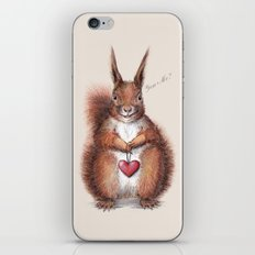 Squirrel heart love iPhone & iPod Skin