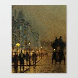 Classical Masterpiece 'Glasgow, Twilight' by John Atkinson Grimshaw Canvas Print