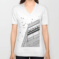 broadway V-neck T-shirts featuring Broadway Birds by XtinaYo
