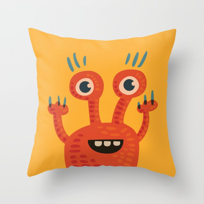 Funny Orange Happy Creature Throw Pillow