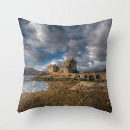 Eilean Donan Castle in Highlands of Scotland Throw Pillow