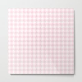 Soft Pastel Pink and White Hounds Tooth Check Metal Print