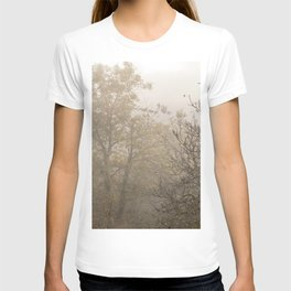 Autumnal naked trees surrounded by fog T-shirt