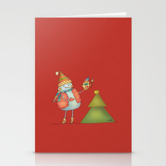 Friends keep warm - red Stationery Cards