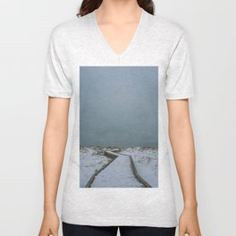 cloudy winter boardwalk Unisex V-Neck