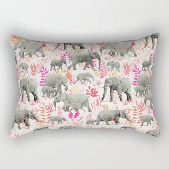 Sweet Elephants in Pink, Orange and Cream Rectangular Pillow