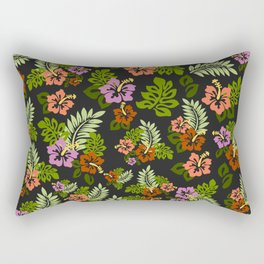 Hawaiian Pattern - Black Backgorund Rectangular Pillow