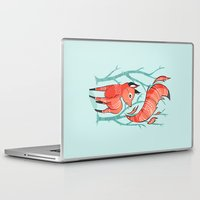large Laptop & iPad Skins featuring Winter Fox by Freeminds