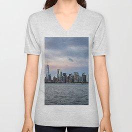 Skyline  of New York City at sunset Unisex V-Neck