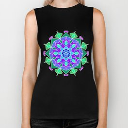 Mandala in blue and green colors Biker Tank