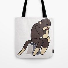 Sock Monkey Thinking Tote Bag