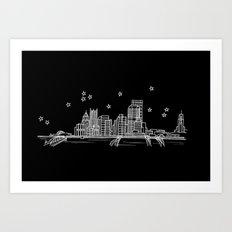 Pittsburgh, Pennsylvania City Skyline Art Print