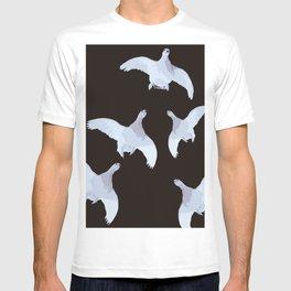 White Willow grouse Birds On A Black Background #decor #buyart #society6 T-shirt