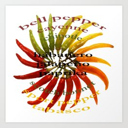 Chili Color Wheel With Hot Pepper Text Art Print
