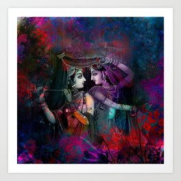Radha Krishna- the divine Art Print