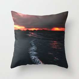 dark beach Throw Pillow