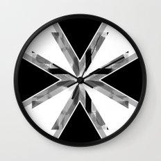 Three Triangles Geometric in B&W Wall Clock