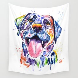 Black Lab Colorful Watercolor Pet Portrait Painting Wall Tapestry
