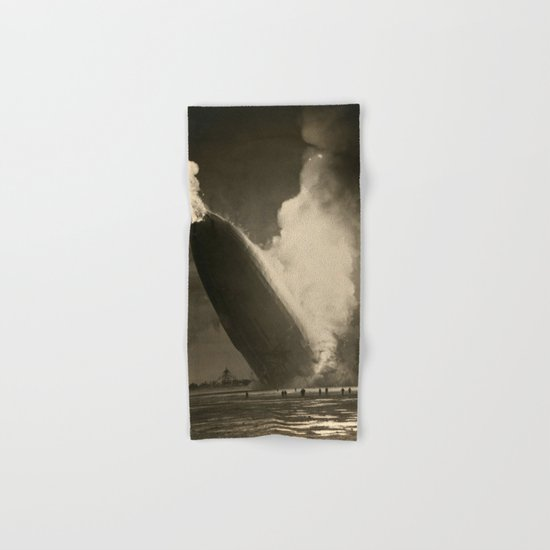 The Hindenburg hits the ground in flames in Lakehurst, N.J. Hand & Bath Towel