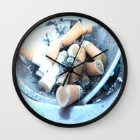 cigarettes Wall Clocks featuring Cigarettes by Beatrice