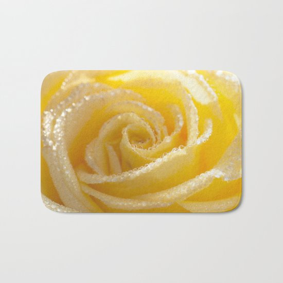 Yellow Romance - Yellow Rose with sparkling waterdrops - Roses Bath Mat