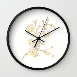 Golden flower on white background . artwork . Wall Clock