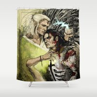 """the cure Shower Curtains featuring Dragon Age - Templar and Apostate Mage - Cure by Barbara """"Yuhime"""" Wyrowińska"""