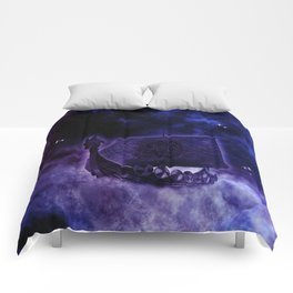 Cosmic Drakkar Illustration 2 Comforters