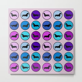 Doxies in Circles in Purple, Blue, and Pinks Metal Print