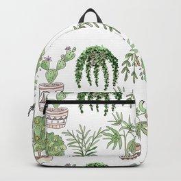 Watercolor cartoon sketch house plants in pots Backpack