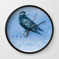 ravenclaw Wall Clocks featuring WordPlay 2: Ravenclaw by Sreetama Ray