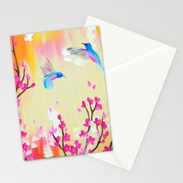 Hummingbirds with pink and yellow Stationery Cards
