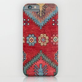 Tribal Honeycomb Palmette III // 19th Century Authentic Colorful Red Flower Accent Pattern iPhone Case