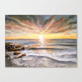 Colourful Seascape Sunset Pastel Painting Canvas Print
