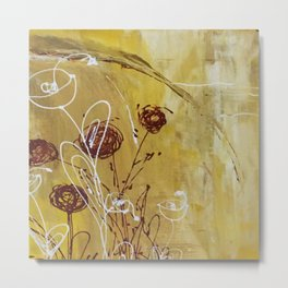 Yellow Tan Spring Abstract Flowers. Jodilynpaintings. Abstract Floral Metal Print