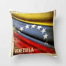 Grunge sticker of Venezuela flag Throw Pillow