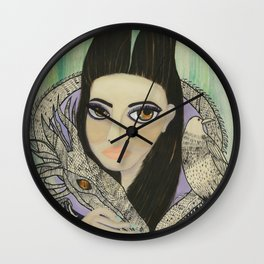 Maleficent, Portrait of a Wicked Young Woman Wall Clock