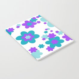 Turquoise Teal Blue and Purple Floral Notebook
