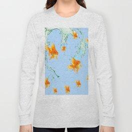 GOLDFISH AQUARIUM SPLASHING  WATER ART Long Sleeve T-shirt