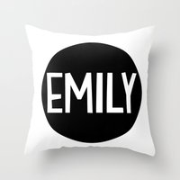emily rickard Throw Pillows featuring Emily by Amy Lovesowls