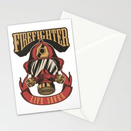 Firefighter life saver Stationery Cards