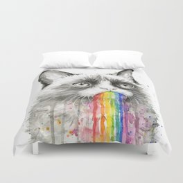 Grumpy Rainbow Cat Watercolor Animal Meme Geek Art Duvet Cover
