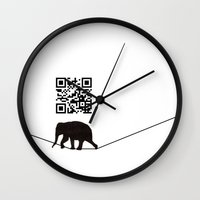 code Wall Clocks featuring Elephant Code by Jason Douglas Griffin